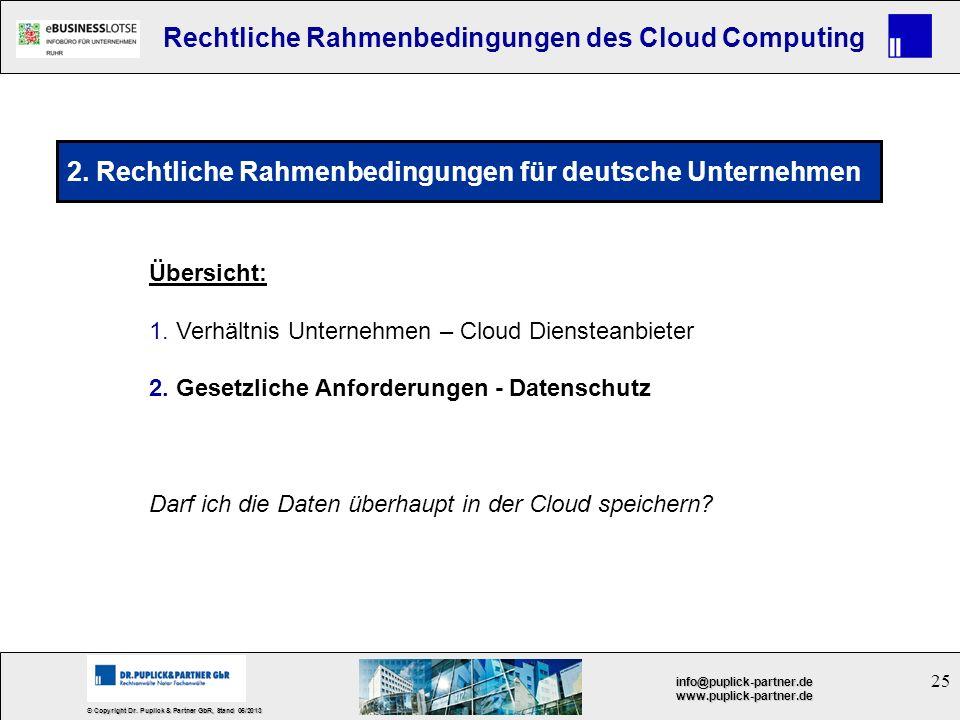 25 © Copyright Dr. Puplick & Partner GbR, Stand 05/2013 info@puplick-partner.dewww.puplick-partner.de Rechtliche Rahmenbedingungen des Cloud Computing