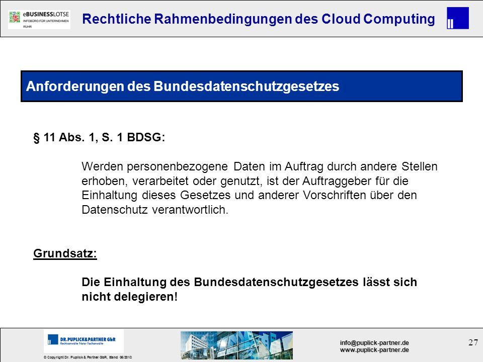 27 © Copyright Dr. Puplick & Partner GbR, Stand 05/2013 info@puplick-partner.dewww.puplick-partner.de Rechtliche Rahmenbedingungen des Cloud Computing
