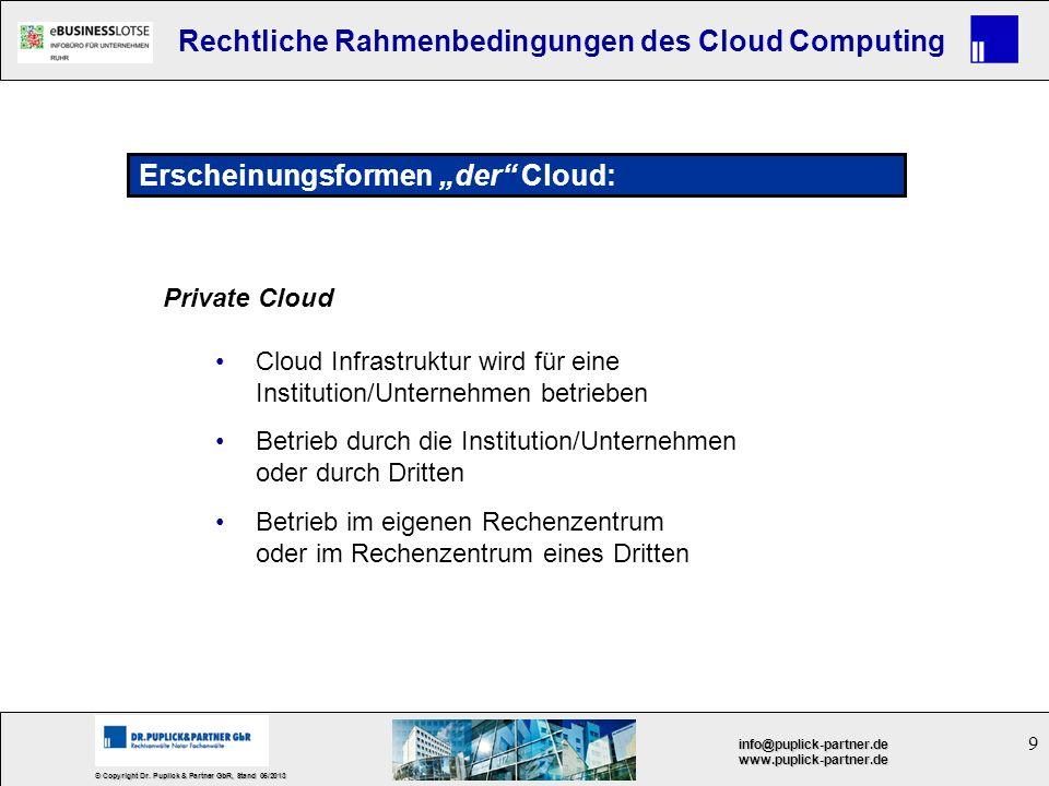 9 © Copyright Dr. Puplick & Partner GbR, Stand 05/2013 info@puplick-partner.dewww.puplick-partner.de Rechtliche Rahmenbedingungen des Cloud Computing