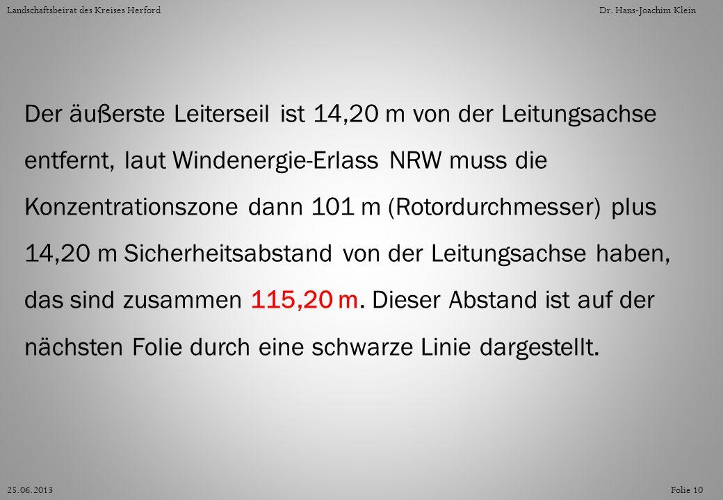Der äußerste Leiterseil ist 14,20 m von der Leitungsachse entfernt, laut Windenergie-Erlass NRW muss die Konzentrationszone dann 101 m (Rotordurchmess