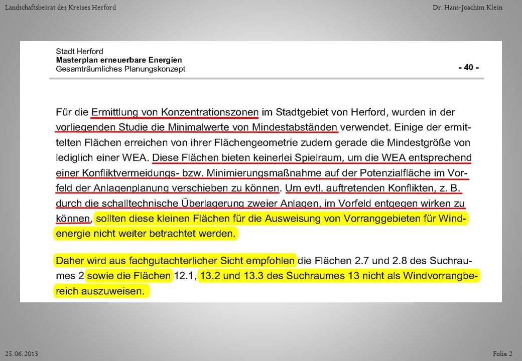 Folie 1325.06.2013 Landschaftsbeirat des Kreises HerfordDr. Hans-Joachim Klein