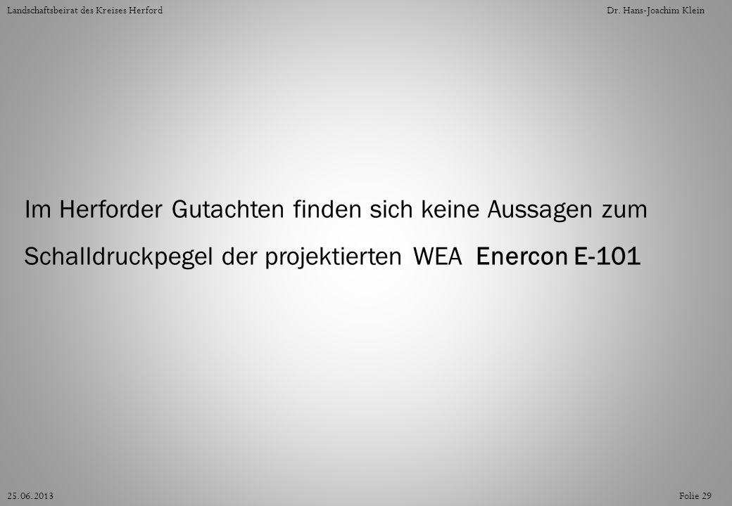 Folie 2925.06.2013 Landschaftsbeirat des Kreises HerfordDr. Hans-Joachim Klein Im Herforder Gutachten finden sich keine Aussagen zum Schalldruckpegel