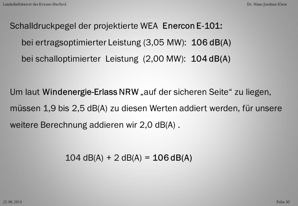Folie 3025.06.2013 Landschaftsbeirat des Kreises HerfordDr. Hans-Joachim Klein Schalldruckpegel der projektierte WEA Enercon E-101: bei ertragsoptimie