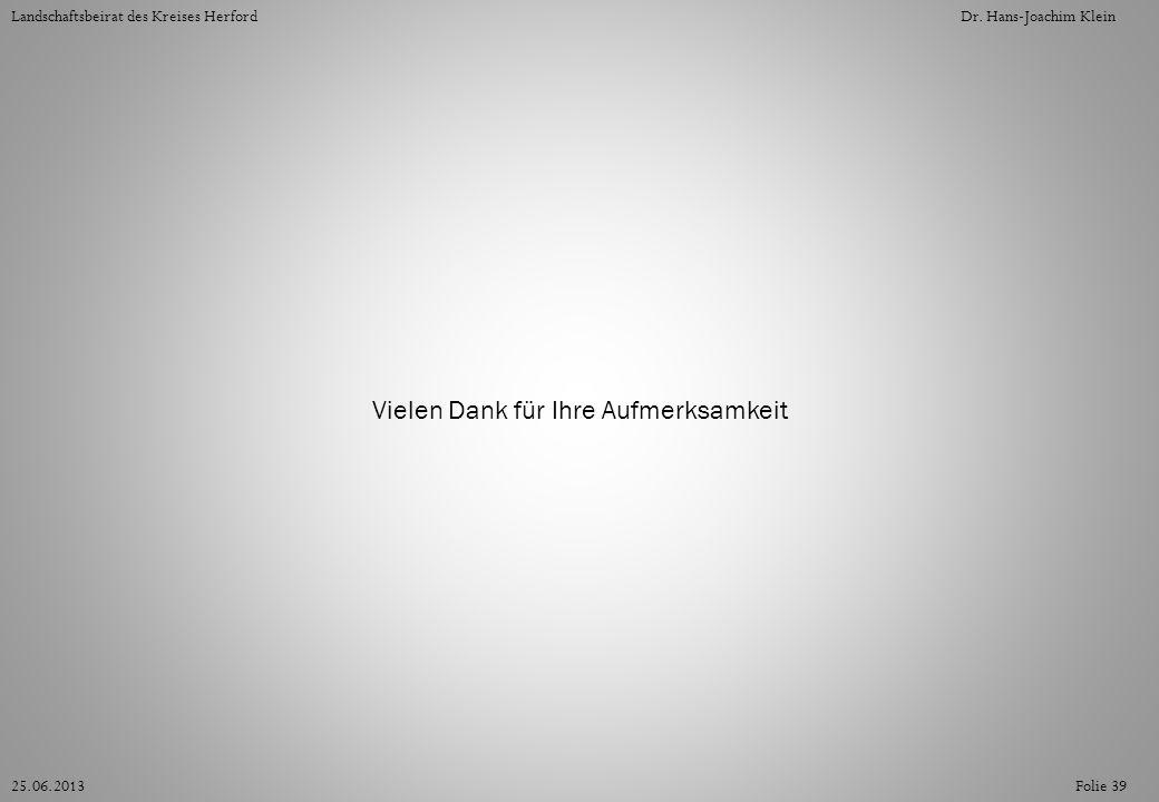 Folie 3925.06.2013 Landschaftsbeirat des Kreises HerfordDr. Hans-Joachim Klein Vielen Dank für Ihre Aufmerksamkeit
