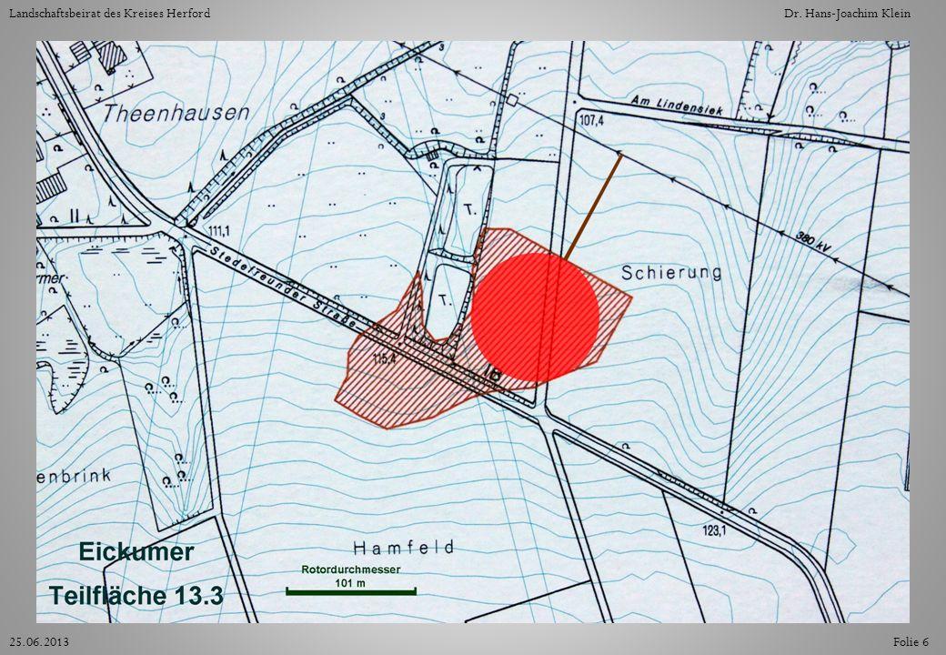 Die Teilfläche 13.3 ist im Nordosten durch einen Schutzabstand zur Hochspannungsleitung begrenzt.