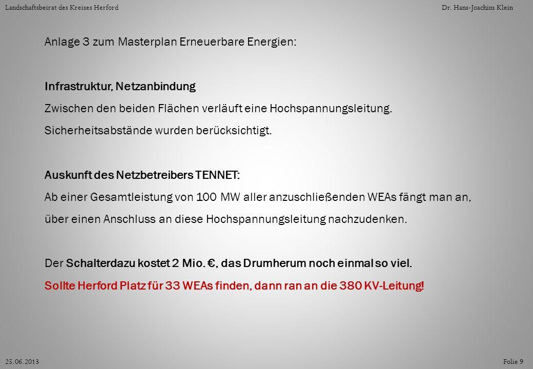 Der äußerste Leiterseil ist 14,20 m von der Leitungsachse entfernt, laut Windenergie-Erlass NRW muss die Konzentrationszone dann 101 m (Rotordurchmesser) plus 14,20 m Sicherheitsabstand von der Leitungsachse haben, das sind zusammen 115,20 m.