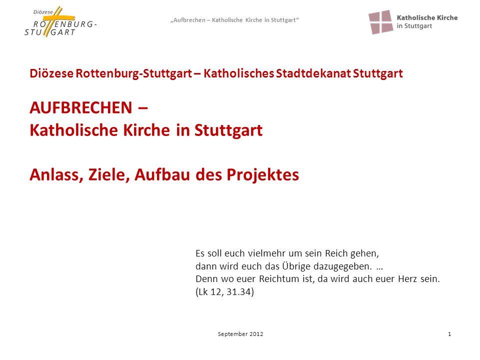Aufbrechen – Katholische Kirche in Stuttgart 2 Hintergrund Dekanatsreform und Zusammenführung der Gesamtkirchengemeinden 2006 wurde das Stadtdekanat aus vier einzelnen Dekanaten gebildet.