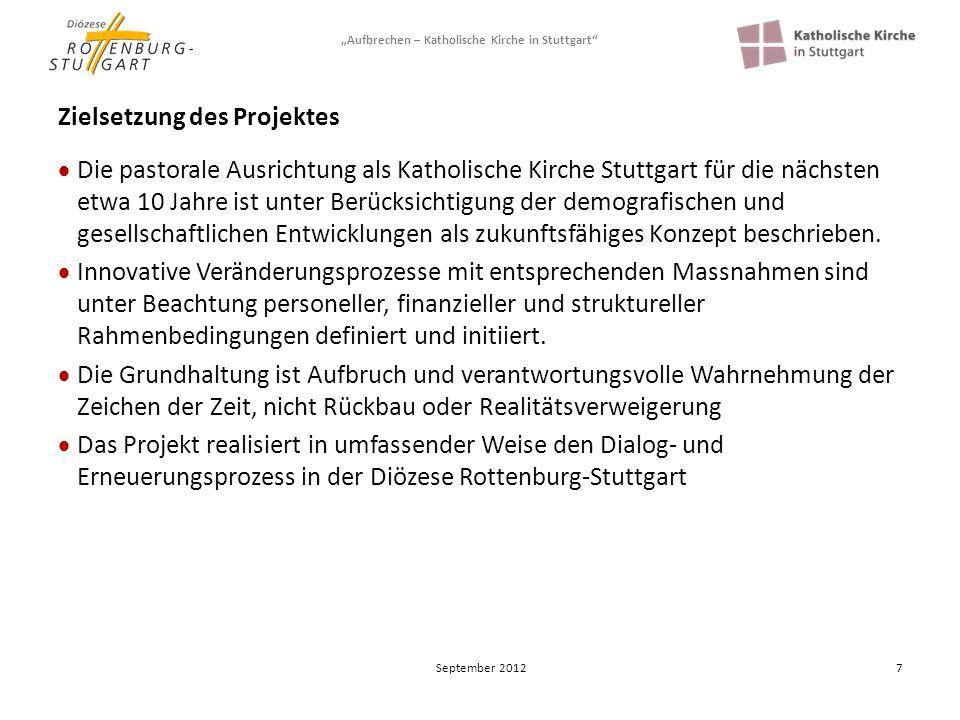 Aufbrechen – Katholische Kirche in Stuttgart 7 Zielsetzung des Projektes Die pastorale Ausrichtung als Katholische Kirche Stuttgart für die nächsten e