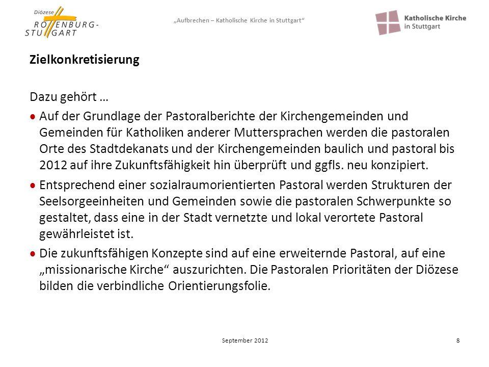 Aufbrechen – Katholische Kirche in Stuttgart 9 Zielkonkretisierung Dazu gehört … Ein Konzept einer pastoral sinnvollen, gerechten, transparenten, solidarischen, subsidiären und nachhaltigen Vermögensbewirtschaftung ist beschlossen.