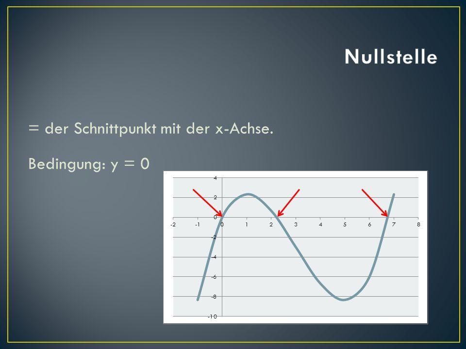 = der Schnittpunkt mit der x-Achse. Bedingung: y = 0