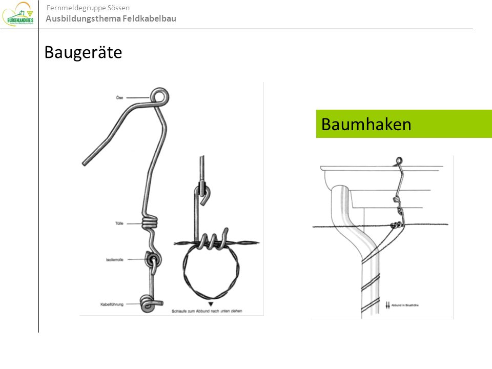 Fernmeldegruppe Sössen Ausbildungsthema Feldkabelbau Baugeräte Baumhaken