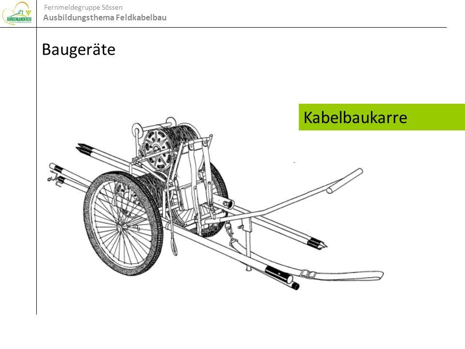 Fernmeldegruppe Sössen Ausbildungsthema Feldkabelbau Baugeräte Kabelbaukarre