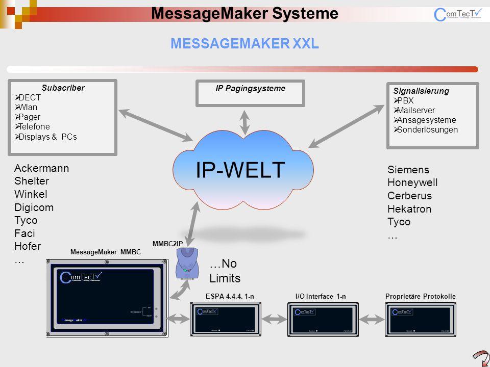 MESSAGEMAKER MessageMaker Systeme 6001000 MM2PBX Anbindung MessageMaker zu PBX / IP 6006100 ESPA2PBX_XS1 MessageMakerXS1 (1Melderziel) 6006200 ESPA2PBX_XS2MessageMakerXS2 (2Melderziel) 6006300 ESPA2PBX_XSnMassageMakerXSn (n Meldeziele) 2001000 MessageMaker BC Basismodul zur Anbindung von EA usw.