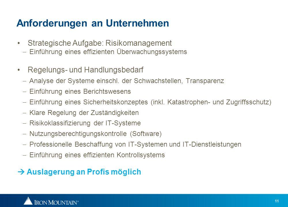 11 Anforderungen an Unternehmen Strategische Aufgabe: Risikomanagement Einführung eines effizienten Überwachungssystems Regelungs- und Handlungsbedarf
