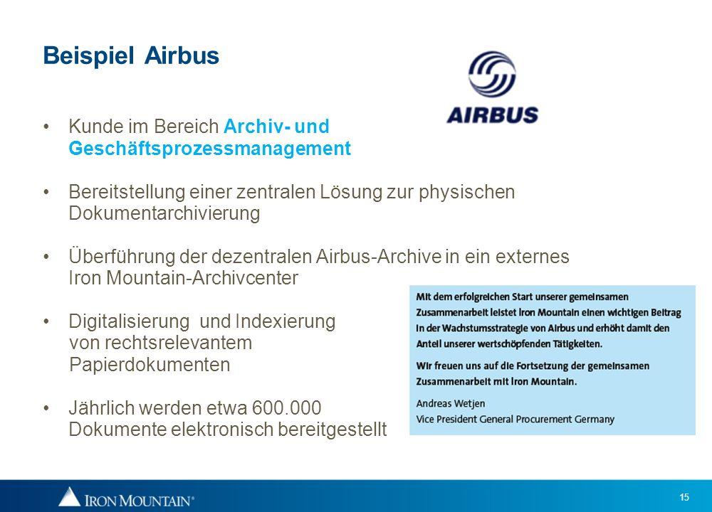 15 Beispiel Airbus Kunde im Bereich Archiv- und Geschäftsprozessmanagement Bereitstellung einer zentralen Lösung zur physischen Dokumentarchivierung Ü
