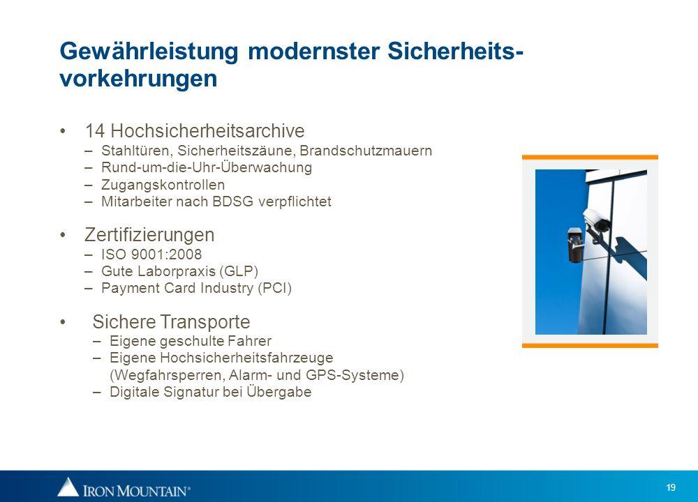19 Gewährleistung modernster Sicherheits- vorkehrungen 14 Hochsicherheitsarchive – Stahltüren, Sicherheitszäune, Brandschutzmauern – Rund-um-die-Uhr-Ü