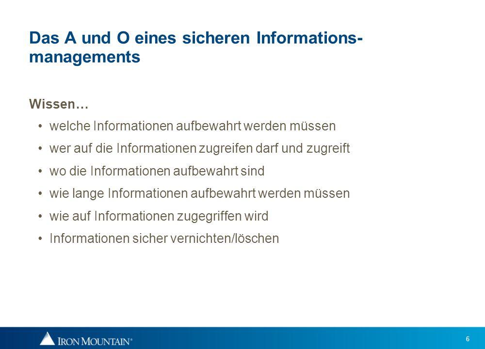 6 Das A und O eines sicheren Informations- managements Wissen… welche Informationen aufbewahrt werden müssen wer auf die Informationen zugreifen darf