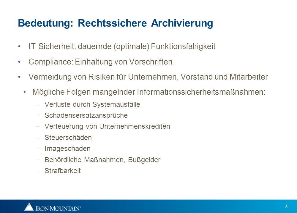 8 Bedeutung: Rechtssichere Archivierung IT-Sicherheit: dauernde (optimale) Funktionsfähigkeit Compliance: Einhaltung von Vorschriften Vermeidung von R