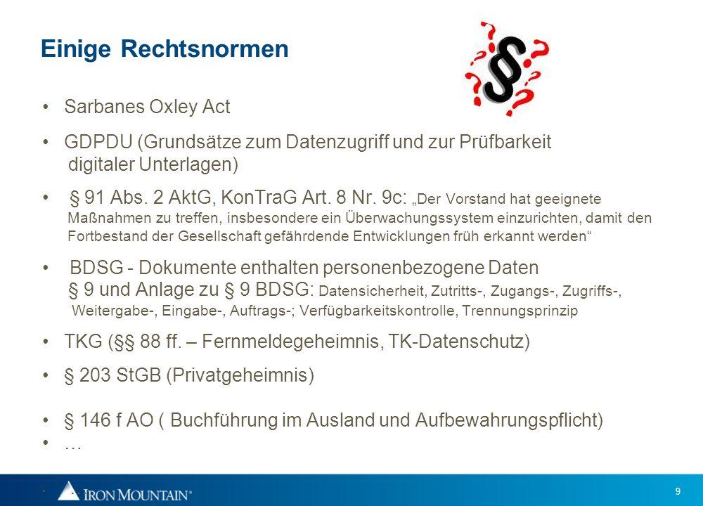 9 Einige Rechtsnormen Sarbanes Oxley Act GDPDU (Grundsätze zum Datenzugriff und zur Prüfbarkeit digitaler Unterlagen) § 91 Abs. 2 AktG, KonTraG Art. 8