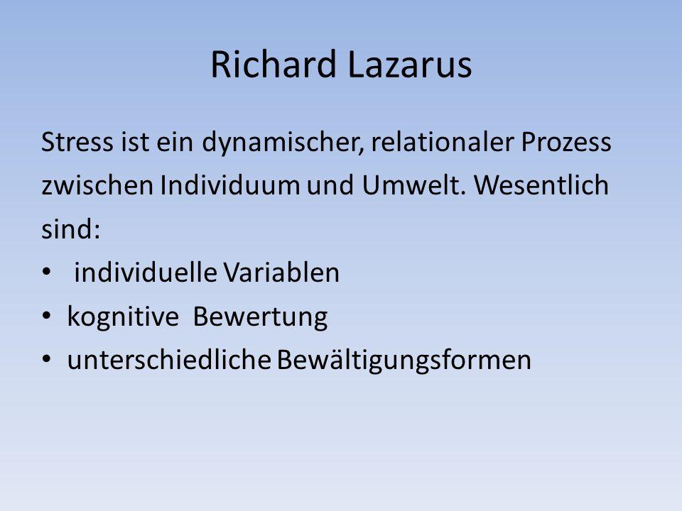 Richard Lazarus Stress ist ein dynamischer, relationaler Prozess zwischen Individuum und Umwelt.