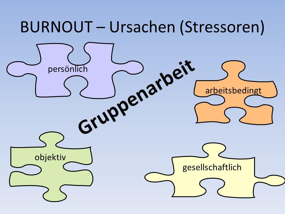 BURNOUT – Ursachen (Stressoren) arbeitsbedingt gesellschaftlich objektiv persönlich
