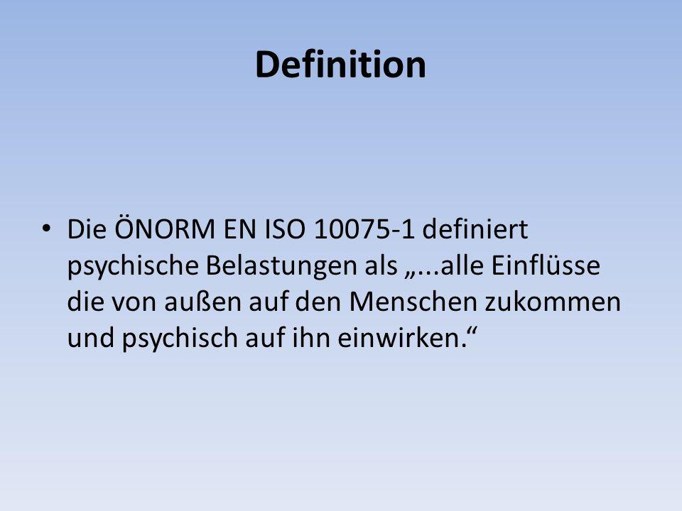 Definition Die ÖNORM EN ISO 10075-1 definiert psychische Belastungen als...alle Einflüsse die von außen auf den Menschen zukommen und psychisch auf ihn einwirken.