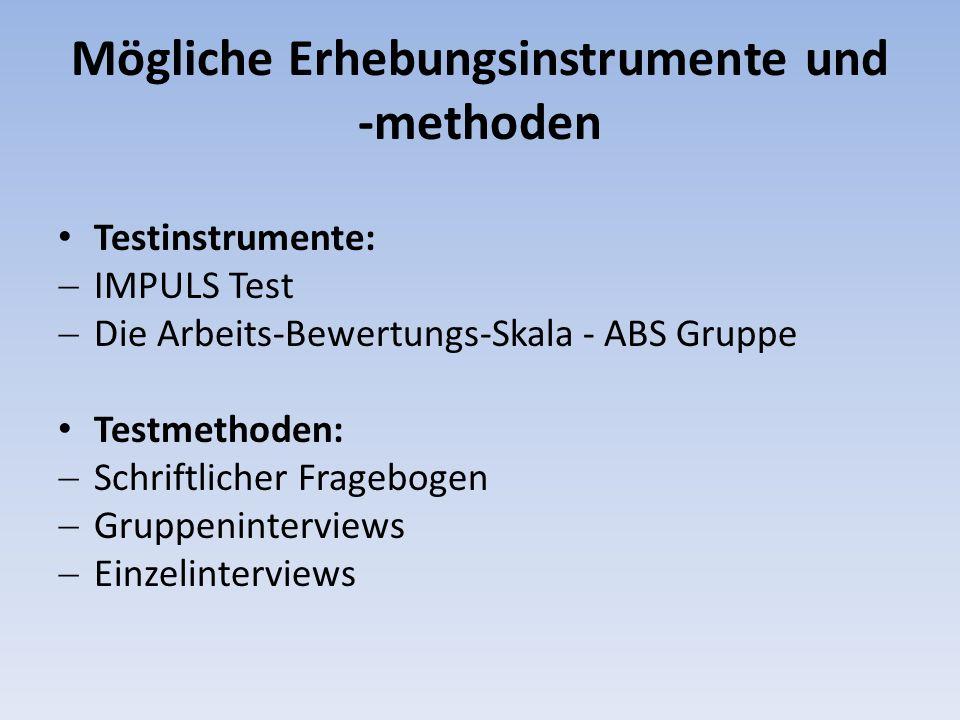 Mögliche Erhebungsinstrumente und -methoden Testinstrumente: IMPULS Test Die Arbeits-Bewertungs-Skala - ABS Gruppe Testmethoden: Schriftlicher Fragebogen Gruppeninterviews Einzelinterviews