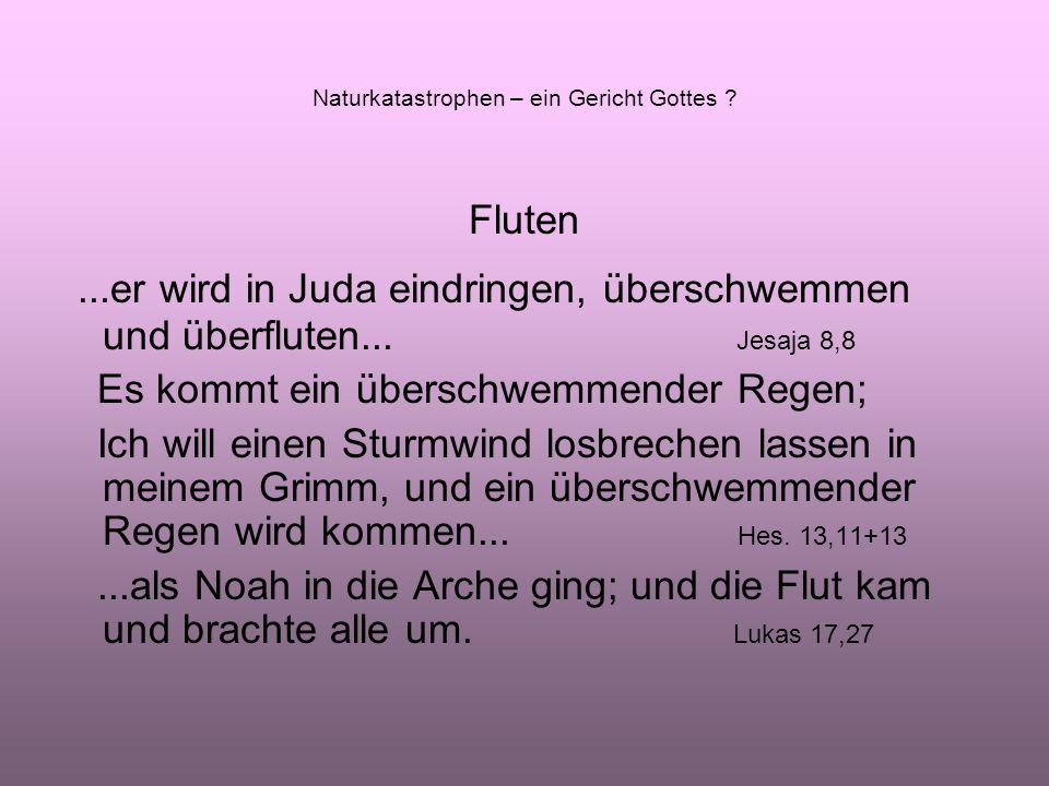 Fluten...er wird in Juda eindringen, überschwemmen und überfluten...