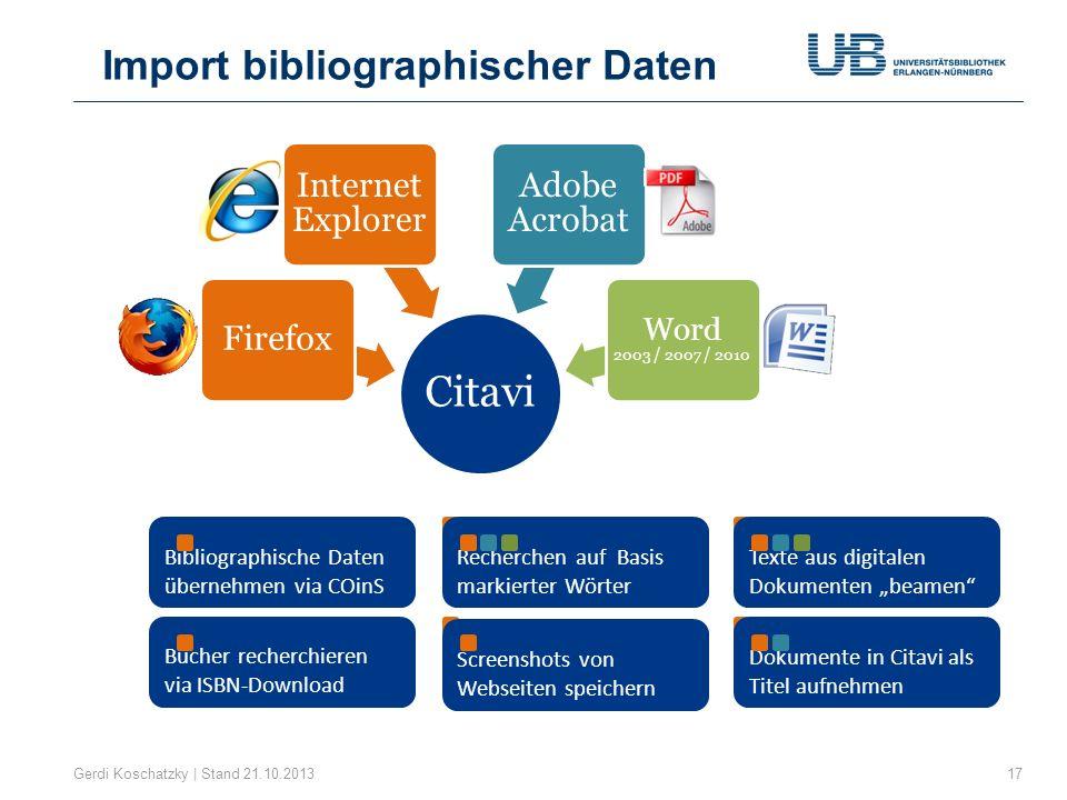 Citavi Firefox Internet Explorer Adobe Acrobat Word 2003 / 2007 / 2010 Bibliographische Daten übernehmen via COinS Texte aus digitalen Dokumenten beam