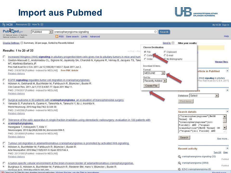 Import aus Pubmed Gerdi Koschatzky | Stand 21.10.201321
