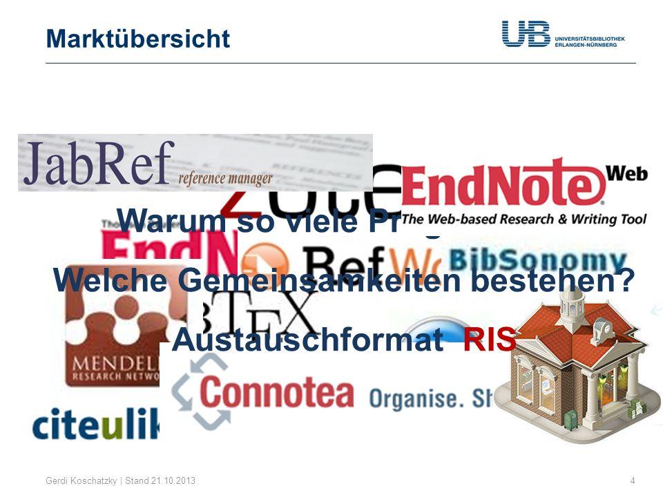 Marktübersicht Gerdi Koschatzky | Stand 21.10.20135 1.Kommerzielle Anbieter EndNote (Thomson Reuters) Citavi (Swiss Academic Software) 2.Kostenlose Open-Source Anwendungen Zotero Mendeley CiteULike