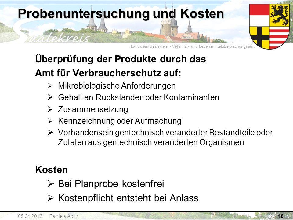 Landkreis Saalekreis - Veterinär- und Lebensmittelüberwachungsamt Probenuntersuchung und Kosten Überprüfung der Produkte durch das Amt für Verbraucher
