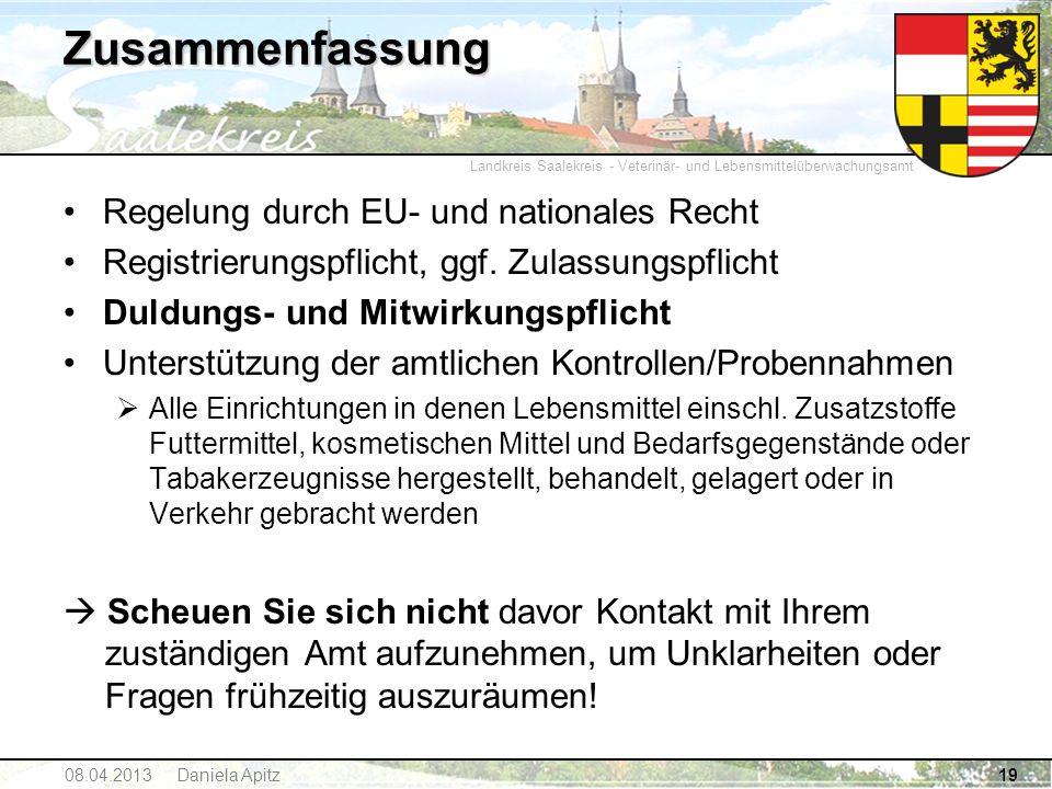 Landkreis Saalekreis - Veterinär- und Lebensmittelüberwachungsamt Zusammenfassung Regelung durch EU- und nationales Recht Registrierungspflicht, ggf.