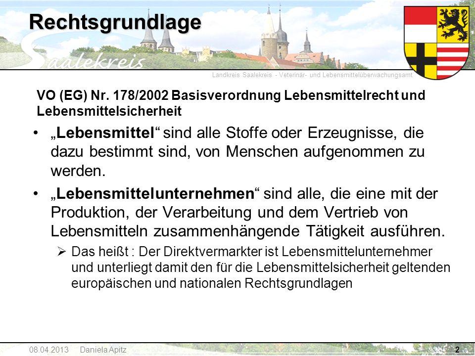 Landkreis Saalekreis - Veterinär- und Lebensmittelüberwachungsamt 08.04.2013 Daniela Apitz2 Rechtsgrundlage VO (EG) Nr. 178/2002 Basisverordnung Leben