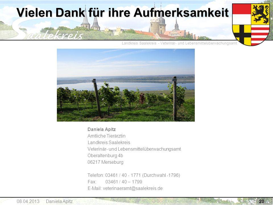 Landkreis Saalekreis - Veterinär- und Lebensmittelüberwachungsamt 20 Vielen Dank für ihre Aufmerksamkeit Daniela Apitz Amtliche Tierärztin Landkreis S