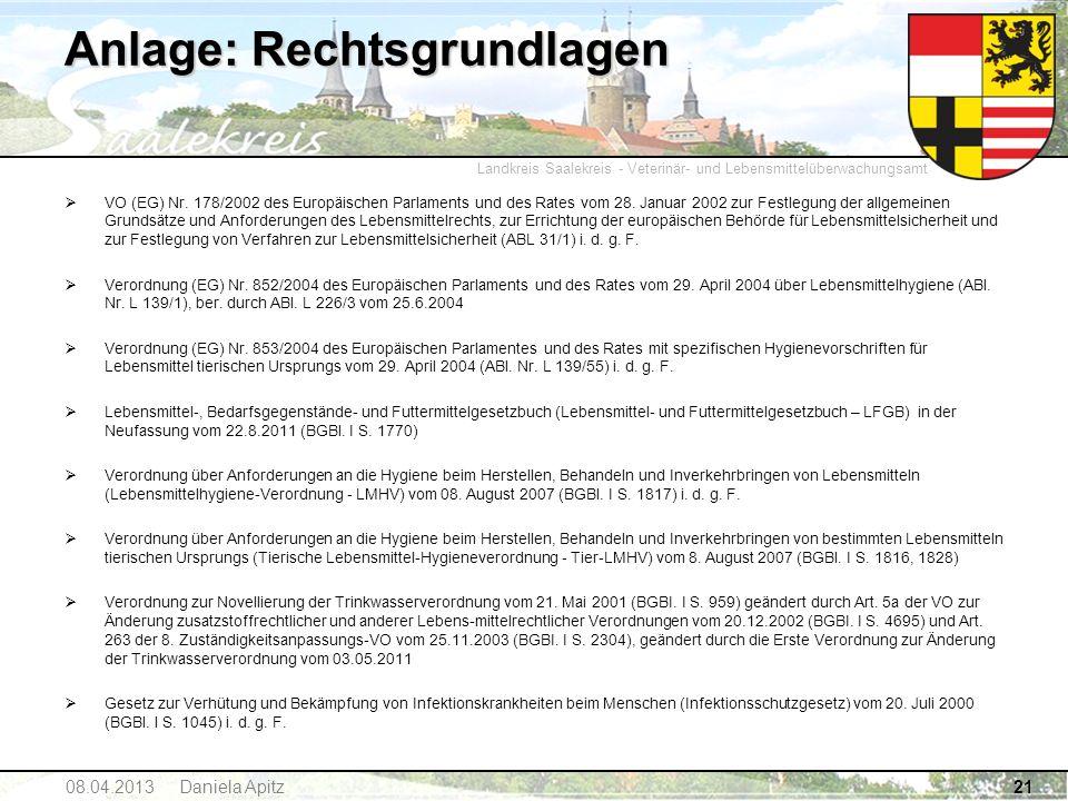Landkreis Saalekreis - Veterinär- und Lebensmittelüberwachungsamt 21 Anlage: Rechtsgrundlagen VO (EG) Nr. 178/2002 des Europäischen Parlaments und des