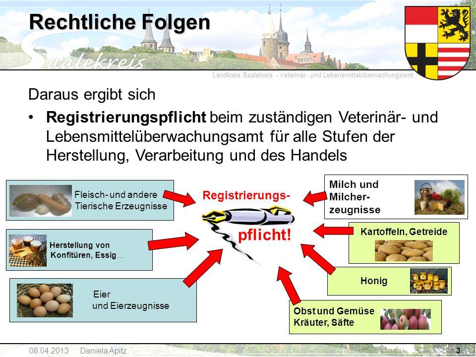 Landkreis Saalekreis - Veterinär- und Lebensmittelüberwachungsamt 08.04.2013 Daniela Apitz3 Rechtliche Folgen Registrierungs- pflicht! Herstellung von