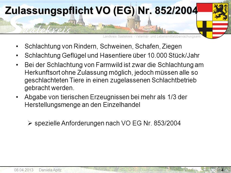 Landkreis Saalekreis - Veterinär- und Lebensmittelüberwachungsamt 4 Zulassungspflicht VO (EG) Nr. 852/2004 Schlachtung von Rindern, Schweinen, Schafen