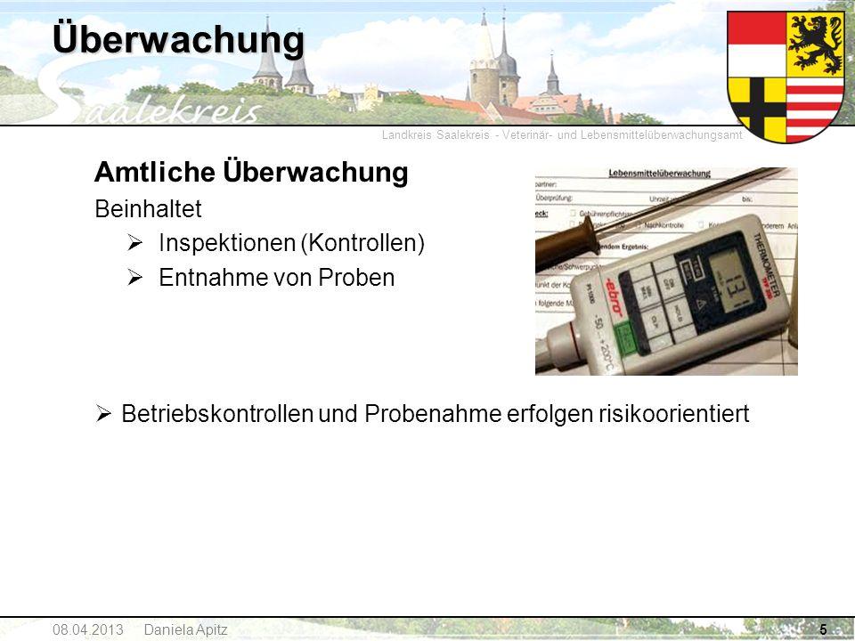 Landkreis Saalekreis - Veterinär- und Lebensmittelüberwachungsamt 5 Überwachung Amtliche Überwachung Beinhaltet Inspektionen (Kontrollen) Entnahme von