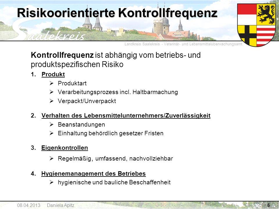 Landkreis Saalekreis - Veterinär- und Lebensmittelüberwachungsamt 6 Risikoorientierte Kontrollfrequenz Kontrollfrequenz ist abhängig vom betriebs- und
