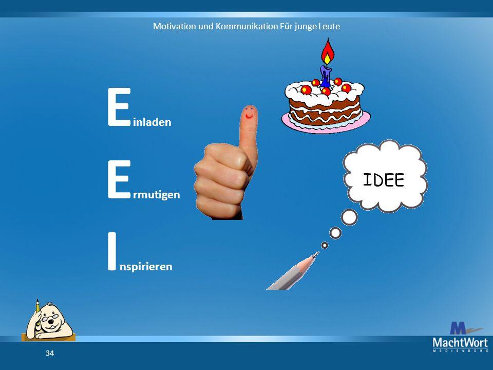Motivation und Kommunikation Für junge Leute 34 E inladen E rmutigen I nspirieren