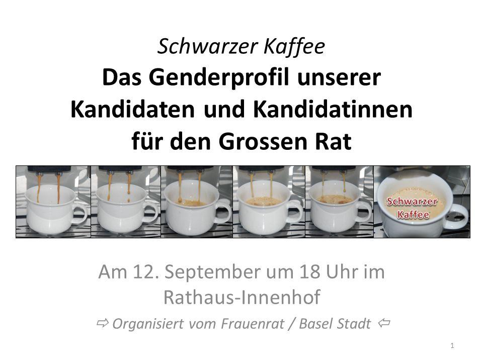Schwarzer Kaffee Das Genderprofil unserer Kandidaten und Kandidatinnen für den Grossen Rat Am 12.