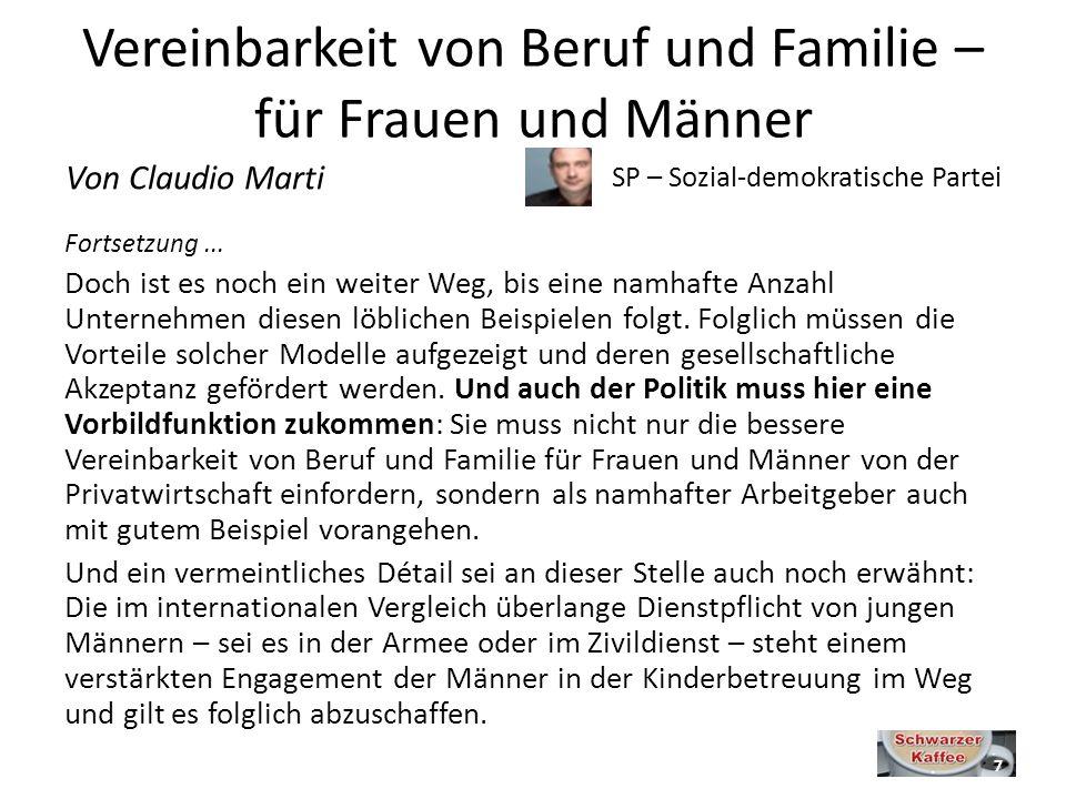 Vereinbarkeit von Beruf und Familie – für Frauen und Männer Fortsetzung...