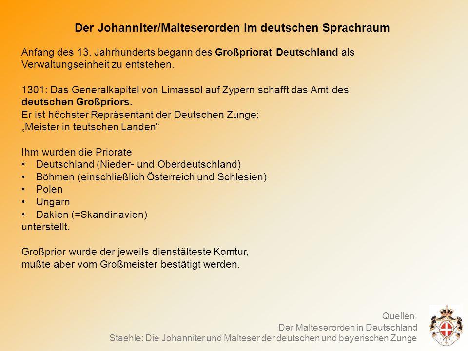 Der Johanniter/Malteserorden im deutschen Sprachraum Anfang des 13.