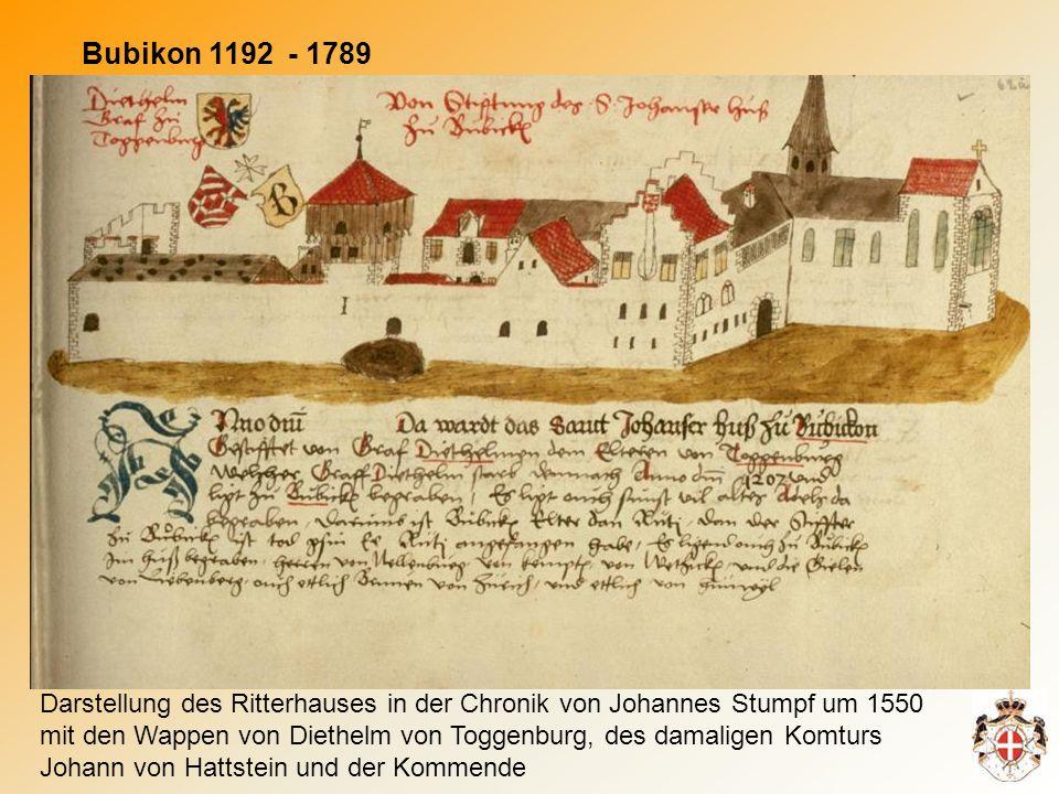 Bubikon 1192 - 1789 Darstellung des Ritterhauses in der Chronik von Johannes Stumpf um 1550 mit den Wappen von Diethelm von Toggenburg, des damaligen Komturs Johann von Hattstein und der Kommende
