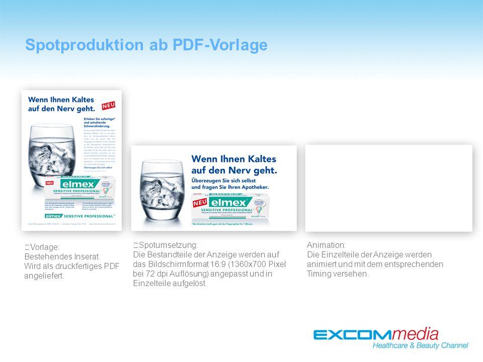 Spotproduktion ab PDF-Vorlage Vorlage: Bestehendes Inserat Wird als druckfertiges PDF angeliefert.