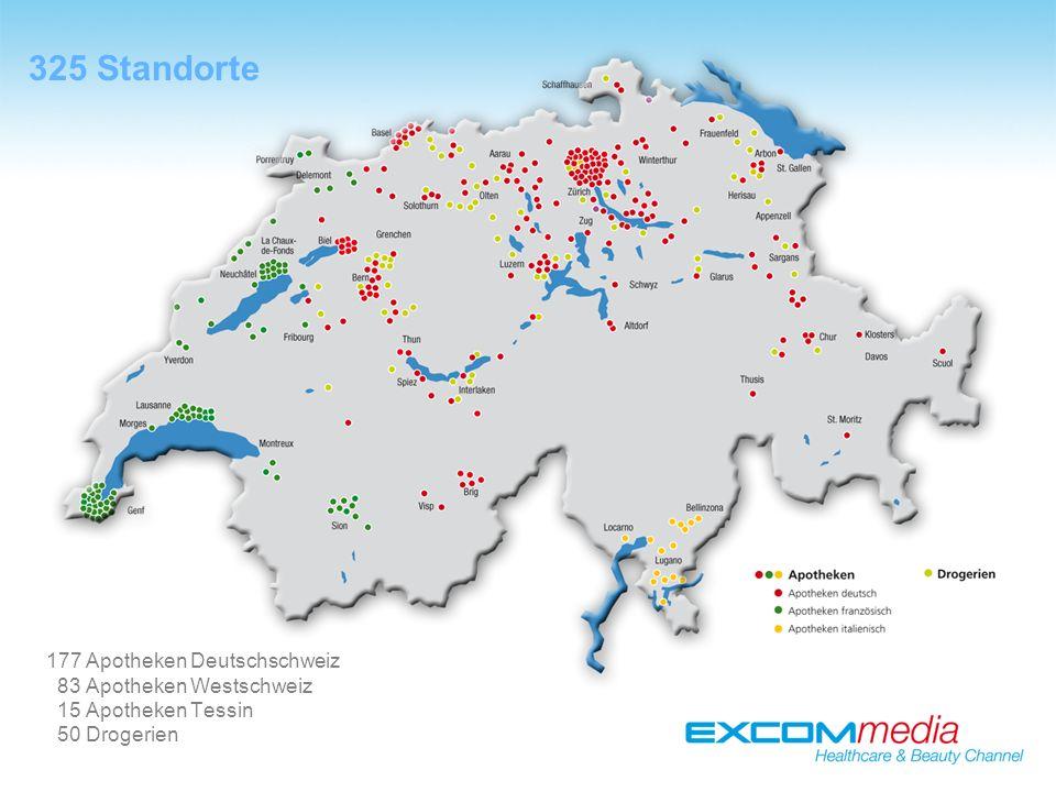 325 Standorte 177 Apotheken Deutschschweiz 83 Apotheken Westschweiz 15 Apotheken Tessin 50 Drogerien