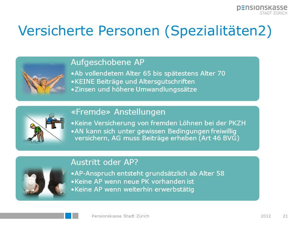 Versicherte Personen (Spezialitäten2) Aufgeschobene AP Ab vollendetem Alter 65 bis spätestens Alter 70 KEINE Beiträge und Altersgutschriften Zinsen un