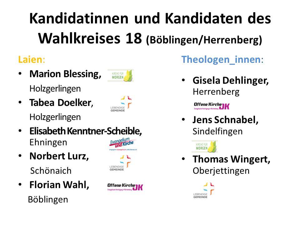 Kandidatinnen und Kandidaten des Wahlkreises 18 (Böblingen/Herrenberg) Laien: Marion Blessing, Holzgerlingen Tabea Doelker, Holzgerlingen Elisabeth Ke