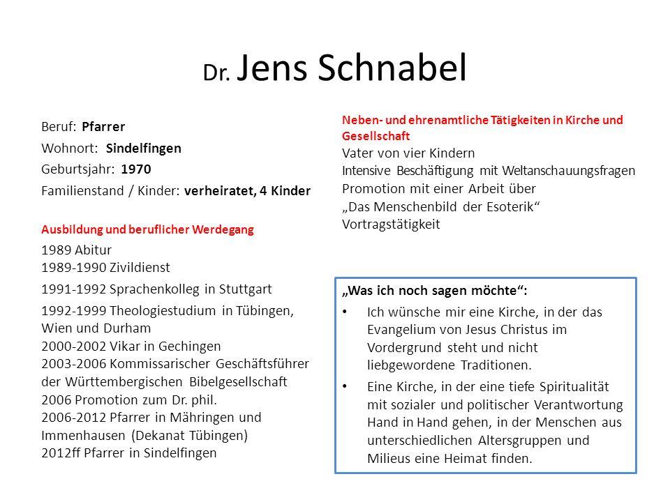 Dr. Jens Schnabel Beruf: Pfarrer Wohnort: Sindelfingen Geburtsjahr: 1970 Familienstand / Kinder: verheiratet, 4 Kinder Ausbildung und beruflicher Werd